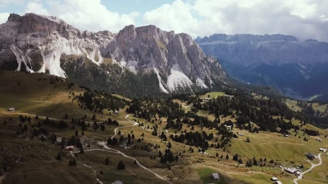 aerial view of dolomites alps, seceda area in a sunny day - cortina stock videos & royalty-free footage