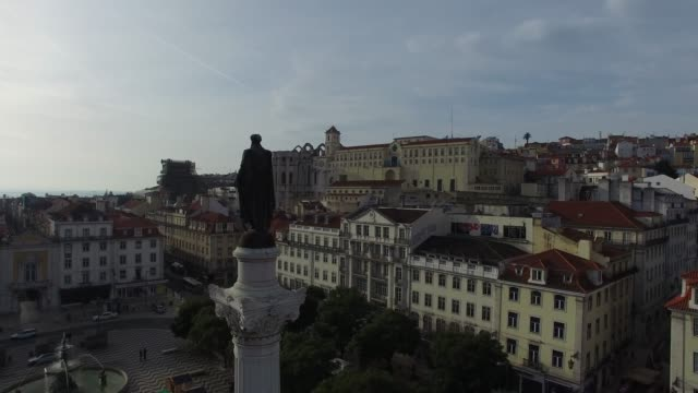 aerial view of dom pedro iv square in rossio, lisbon - courtyard stock videos & royalty-free footage