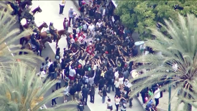 KTLA Aerial View of Donald Trump Protest Outside of Anaheim City Hall