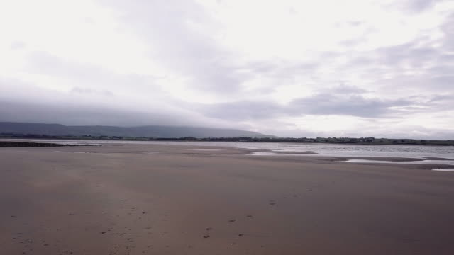 aerial view of donegal beach in ireland on a stormy afternoon. - ulster province stock videos & royalty-free footage