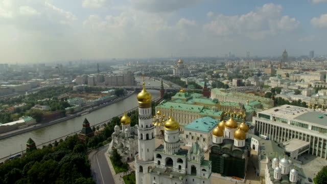 aerial view of dormition cathedral and cathedral square - moscow  - moscow russia stock videos & royalty-free footage