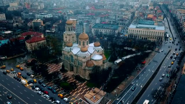 aerial view of dormition of the mother of god cathedral / varna - bulgaria - eastern european culture stock videos & royalty-free footage