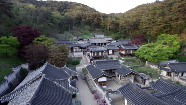 aerial view of dosanseowon confucian academy - north gyeongsang province stock videos & royalty-free footage