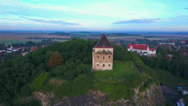 Aerial view of double chapel St. Cruis in Landsberg, Saalekreis, near Haale, Saxony-Anhalt, Germany