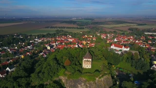 aerial view of double chapel st. cruis in landsberg, saalekreis, near haale, saxony-anhalt, germany - circa 13th century stock videos & royalty-free footage