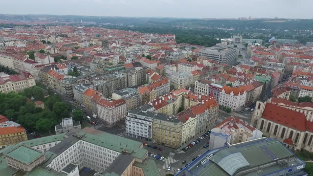 Aerial view of downtown area in Prague