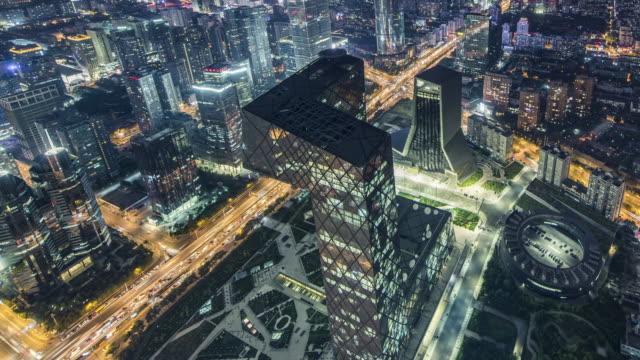 stockvideo's en b-roll-footage met t/l ha pan luchtfoto van downtown beijing at night / beijing, china - beeldtechniek