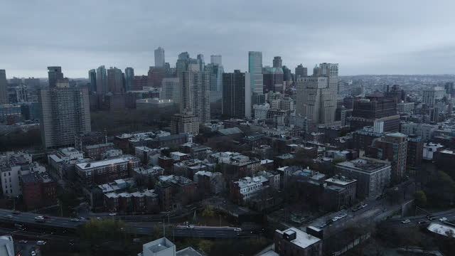 aerial view of downtown brooklyn on an stormy afternoon - ominous stock videos & royalty-free footage