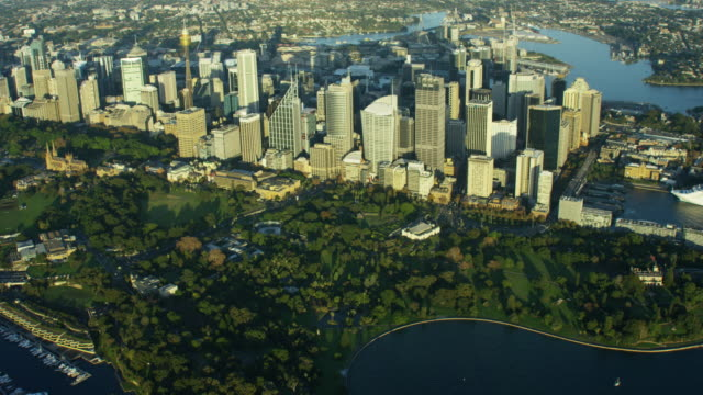 Aerial view of downtown buildings and Darling Harbour