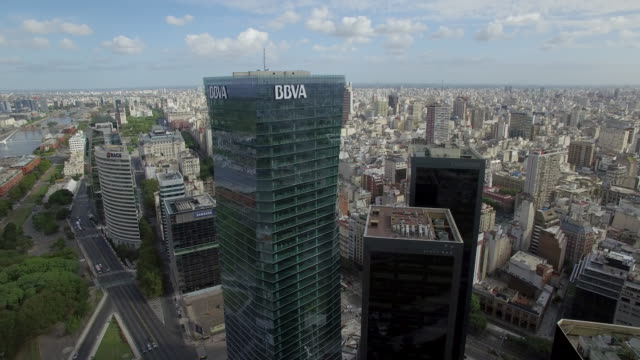 aerial view of downtown buildings buenos aires argentina - buenos aires stock videos & royalty-free footage