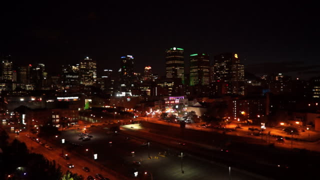aerial view of downtown by night - montréal stock videos & royalty-free footage