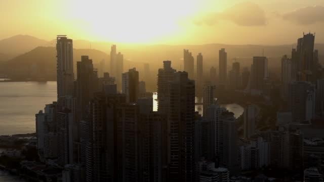 aerial view of downtown center, panama city - panama city panama stock videos & royalty-free footage