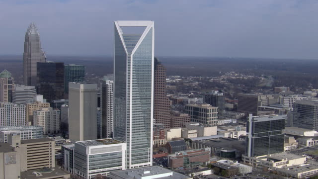 aerial view of downtown charlotte, north carolina, united states of america. - charlotte north carolina stock videos & royalty-free footage