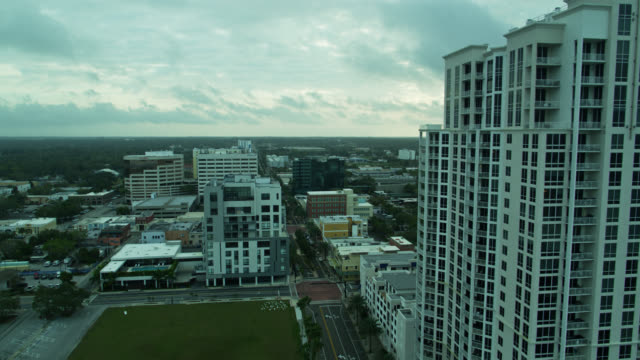 aerial view of downtown clearwater, florida on overcast morning - gulf of mexico stock videos & royalty-free footage