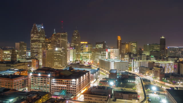 aerial view of downtown detroit at twilight - detroit michigan stock videos & royalty-free footage