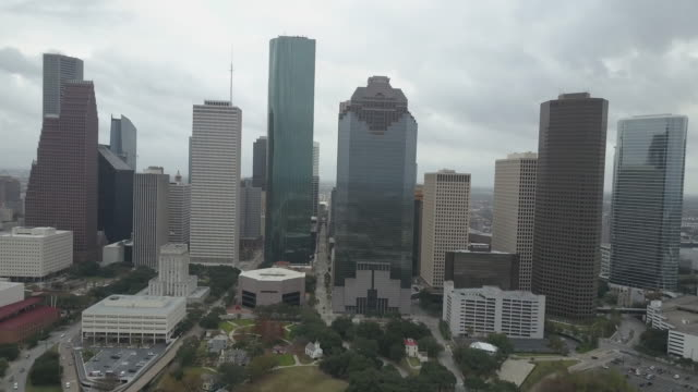 aerial view of downtown houston texas - bロール点の映像素材/bロール