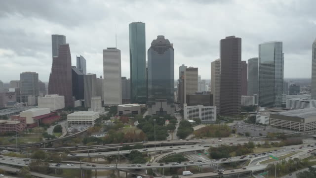 aerial view of downtown houston texas - b roll stock videos & royalty-free footage