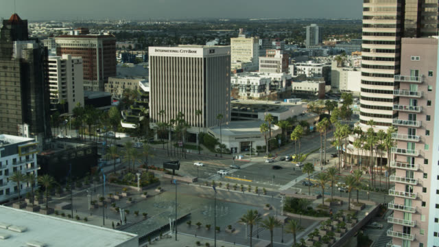 aerial view of downtown long beach from over the long beach convention and entertainment center - long beach california video stock e b–roll
