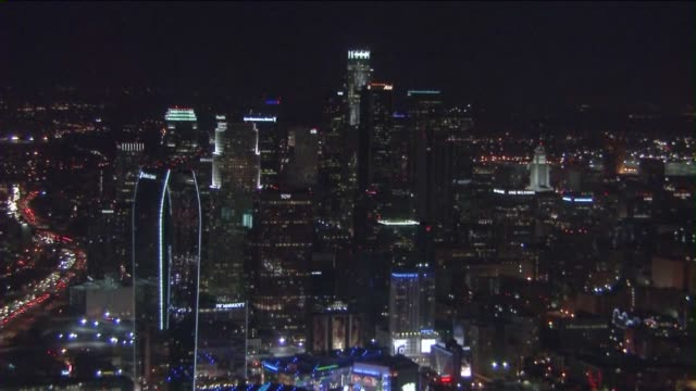 KTLA Aerial View of Downtown Los Angeles at Night