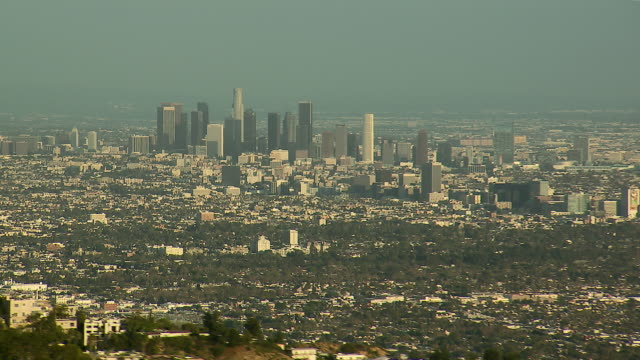 Aerial view of Downtown Los Angeles, California, zooming out.