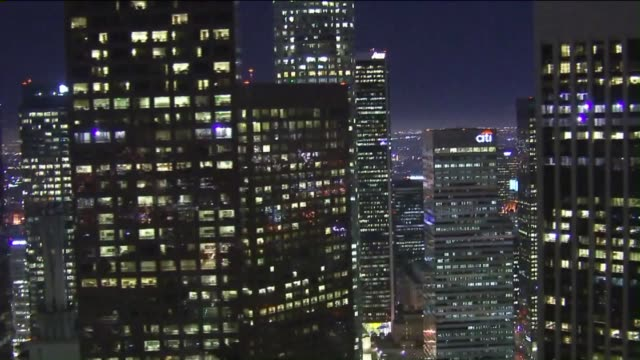 KTLA Aerial View of Downtown Los Angeles Skyline At Night on October 26 2015 Closeup shots of buildings