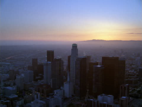 aerial view of downtown los angeles towers in early morning light. - artbeats stock videos & royalty-free footage