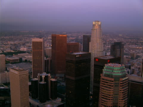 aerial view of downtown los angeles towers. - artbeats stock videos & royalty-free footage