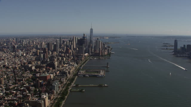 aerial view of downtown manhattan new york city sunny summer day over hudson river - tribeca stock videos & royalty-free footage