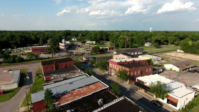 aerial view of downtown maxton north carolina - small town stock videos and b-roll footage