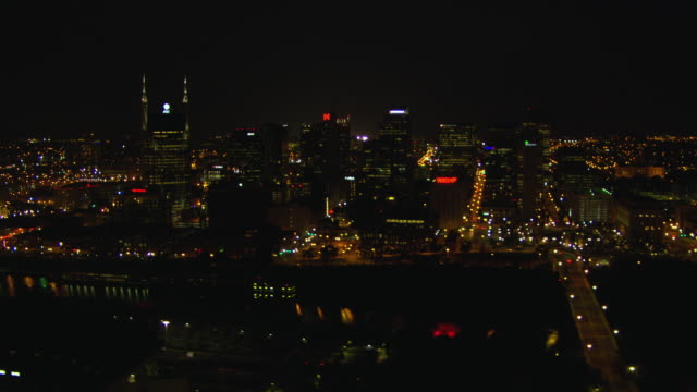 aerial view of downtown nashville at night, tennessee, united states of america. - tennessee stock videos & royalty-free footage
