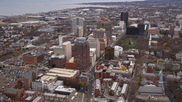 aerial view of downtown new haven and church on the green. shot in 2011. - new haven stock-videos und b-roll-filmmaterial
