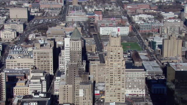 Aerial view of Downtown Newark, New Jersey, including the city's three tallest skyscrapers.