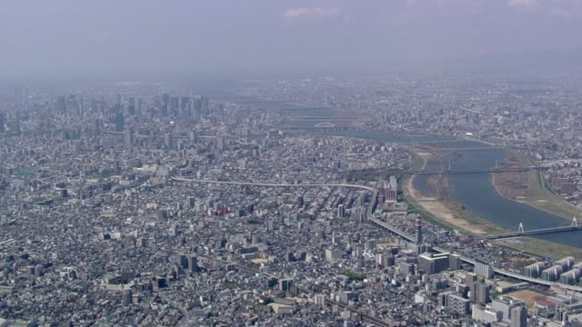 aerial view of downtown osaka - riverbed stock videos & royalty-free footage