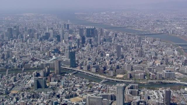 aerial view of downtown osaka - präfektur osaka stock-videos und b-roll-filmmaterial