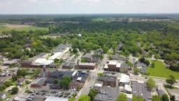 Aerial View of Downtown Saline, Michigan