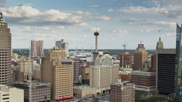 aerial view of downtown san antonio, texas - southwest usa stock videos & royalty-free footage
