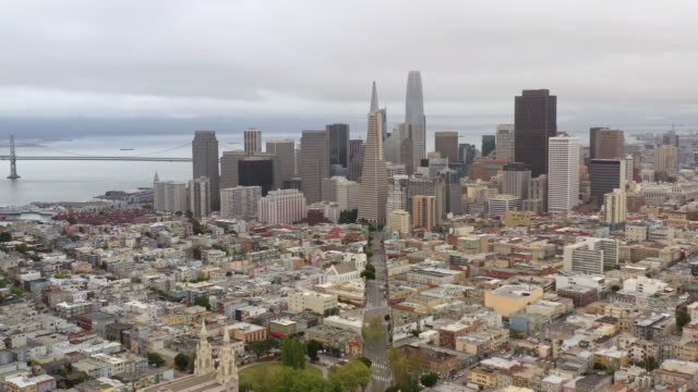aerial view of downtown san francisco during covid-19 pandemic. - international landmark stock videos & royalty-free footage