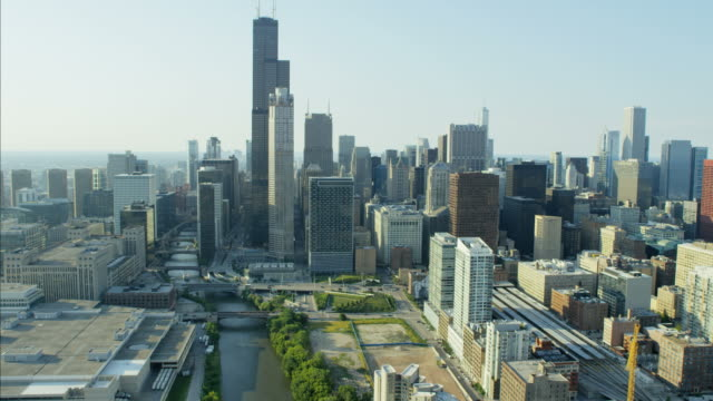 aerial view of downtown sears tower metropolitan chicago - willis tower stock videos and b-roll footage