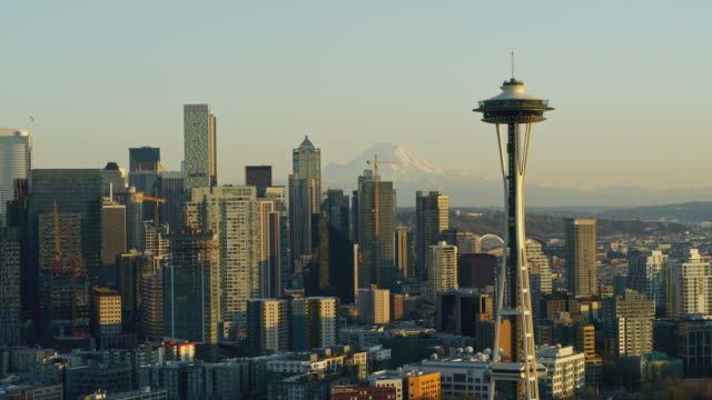 aerial view of downtown seattle washington - seattle stock videos & royalty-free footage