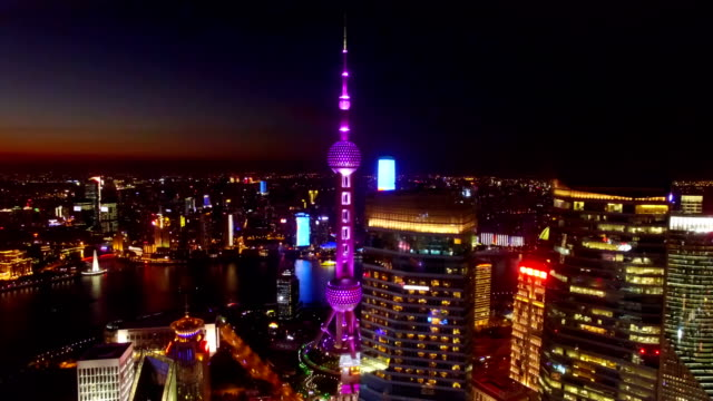 Aerial View of Downtown Shanghai and Oriental Pearl Tower at night