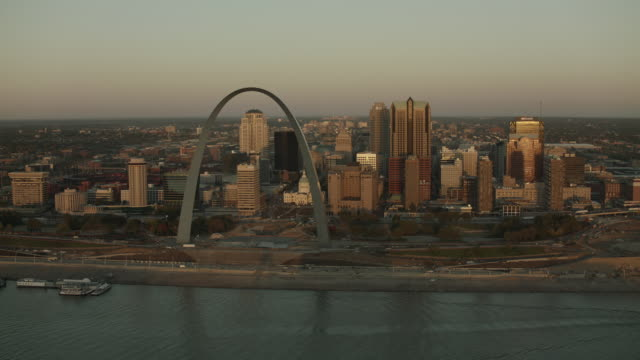 Aerial View Of Downtown St Louis Riverfront
