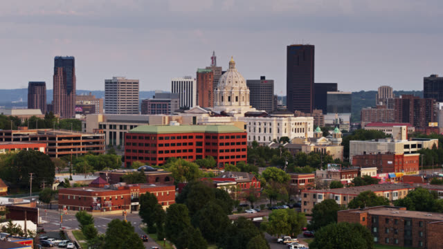 aerial view of downtown st paul at sunset - minnesota stock videos & royalty-free footage