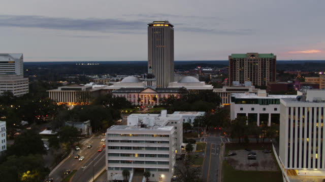 aerial view of downtown tallahassee at dusk - florida us state stock videos & royalty-free footage