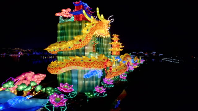 aerial view of dragon lantern in tang paradise city for celebrate chinese spring festival / xi'an, shaanxi, china - street light stock videos & royalty-free footage