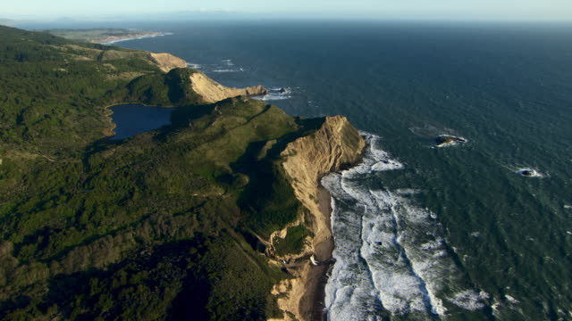 aerial view of dramatic coastal landscape at double point in point reyes national seashore, marin county, california. - marin stock videos & royalty-free footage