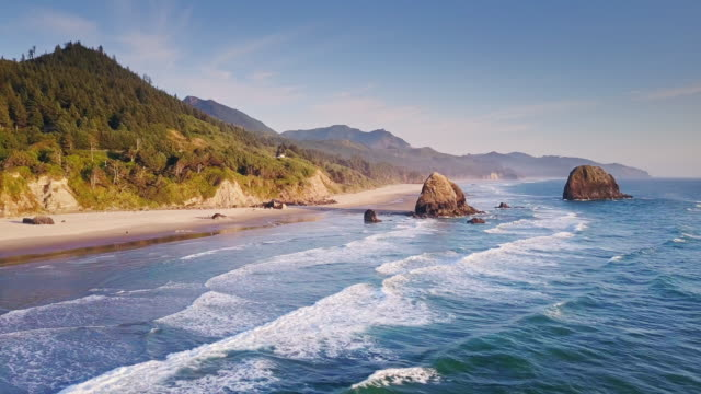 aerial view of dramatic oregon coastline - coastline stock videos & royalty-free footage
