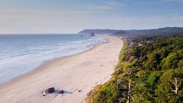 aerial view of dramatic oregon coastline - cannon beach stock videos & royalty-free footage