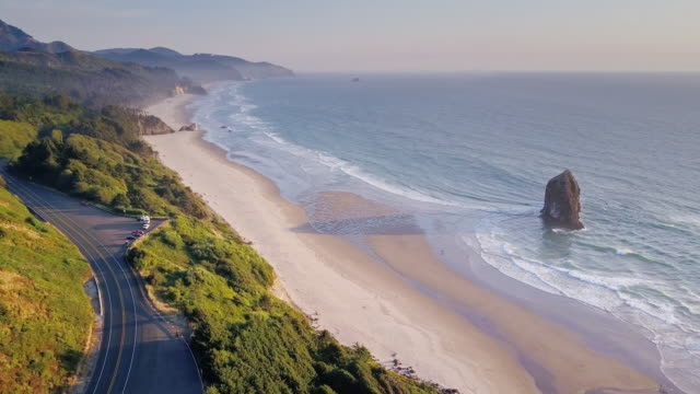 aerial view of dramatic oregon coastline - north america stock videos & royalty-free footage