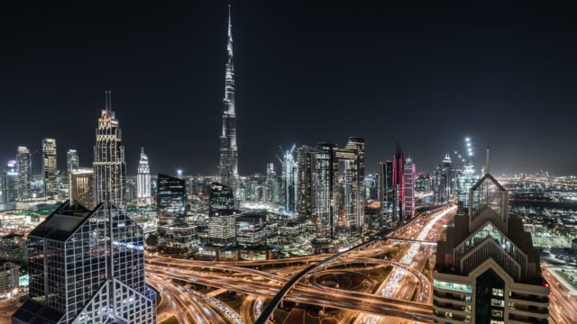 t/l pan aerial view of dubai skyline at night / dubai, uae - traffic time lapse stock videos & royalty-free footage