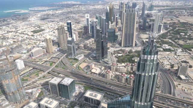 aerial view of dubai - uae - urban sprawl stock videos & royalty-free footage